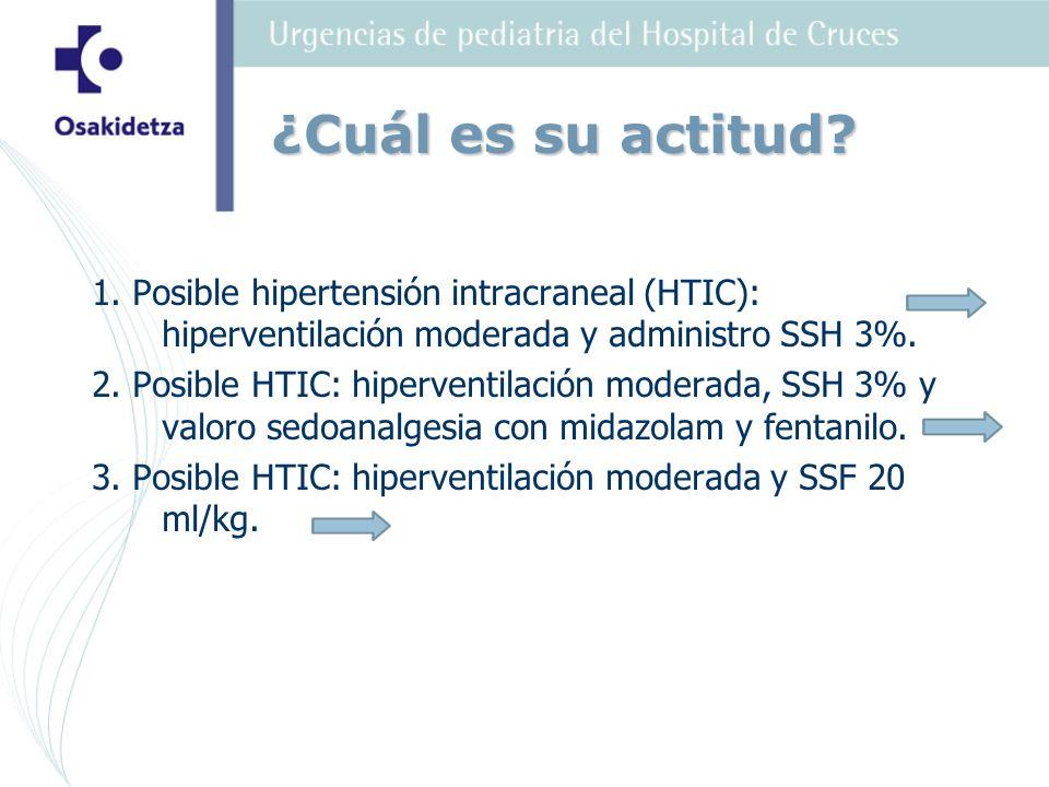 1. Posible hipertensión intracraneal (HTIC): hiperventilación moderada y administro SSH 3%. 2. Posible HTIC: hiperventilación moderada, SSH 3% y valor