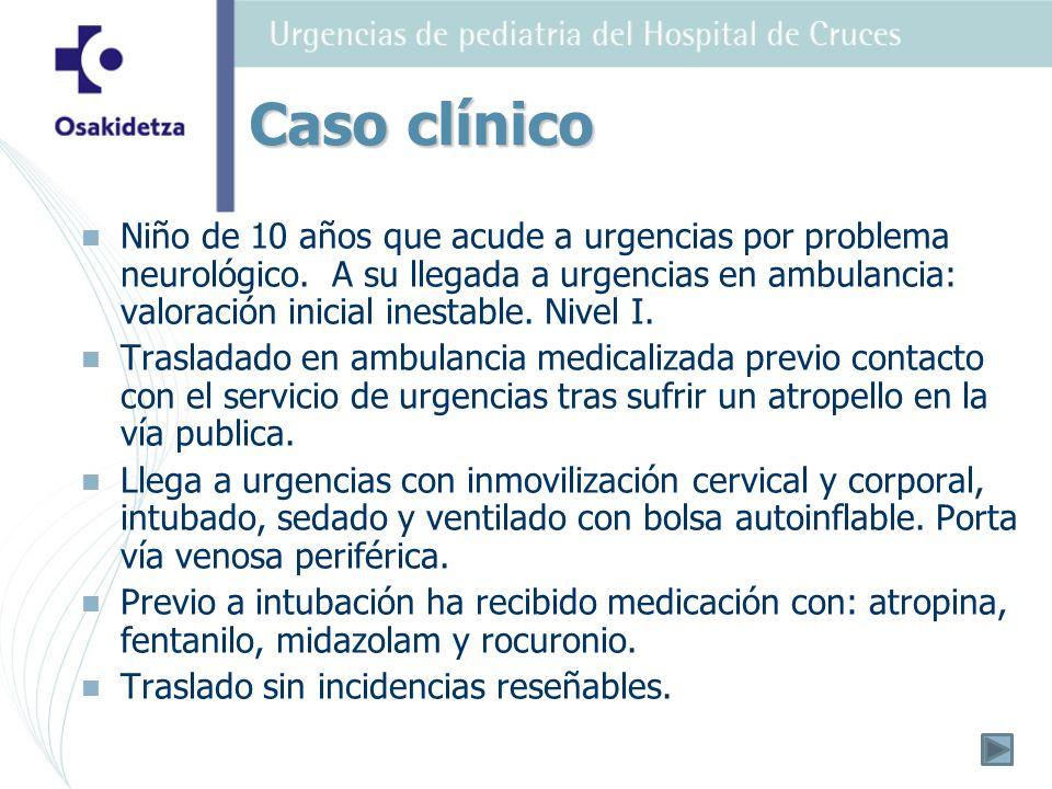 Niño de 10 años que acude a urgencias por problema neurológico.