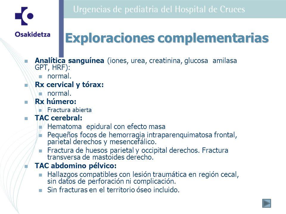 Analítica sanguínea (iones, urea, creatinina, glucosa amilasa GPT, HRF): normal. Rx cervical y tórax: normal. Rx húmero: Fractura abierta TAC cerebral