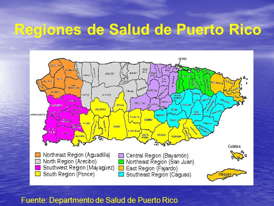 Regiones de Salud de Puerto Rico Fuente: Departmento de Salud de Puerto Rico