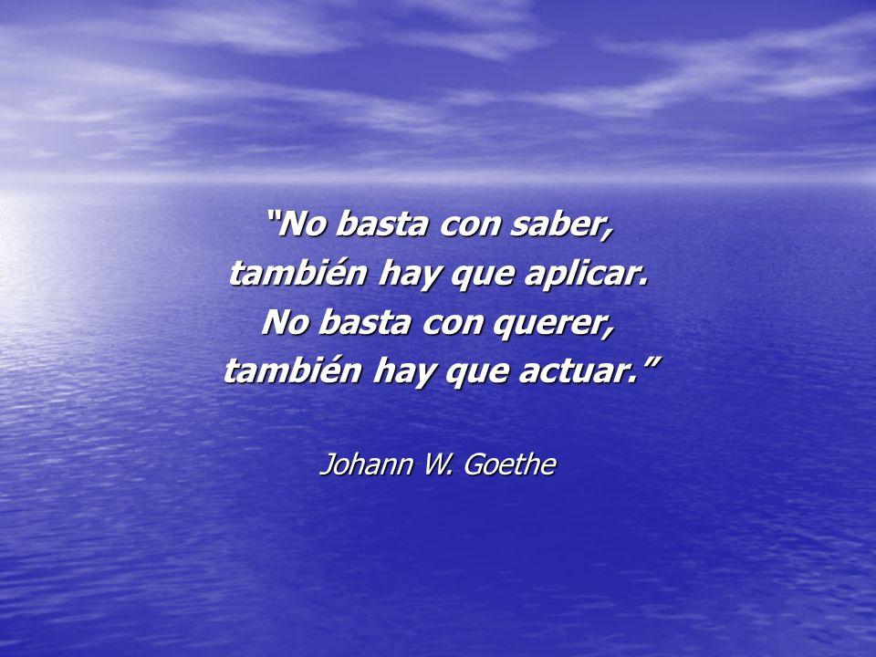 No basta con saber, también hay que aplicar. No basta con querer, también hay que actuar. Johann W. Goethe
