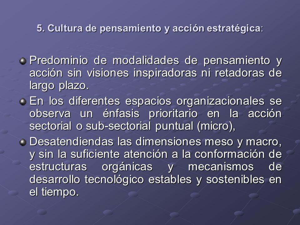 5. Cultura de pensamiento y acción estratégica: Predominio de modalidades de pensamiento y acción sin visiones inspiradoras ni retadoras de largo plaz
