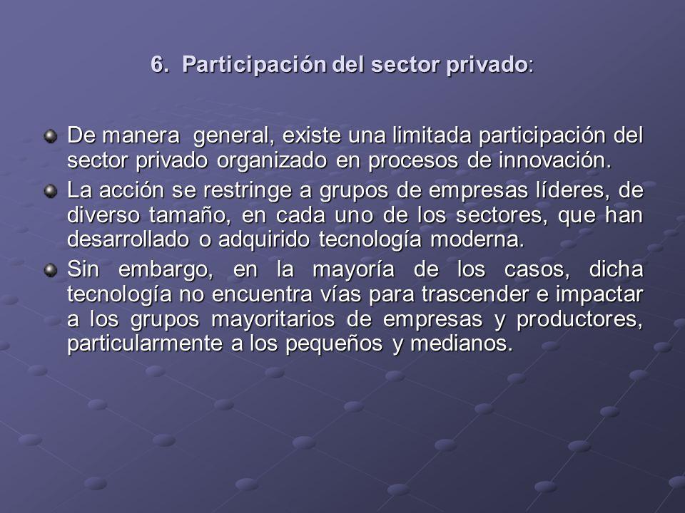 6. Participación del sector privado: De manera general, existe una limitada participación del sector privado organizado en procesos de innovación. La