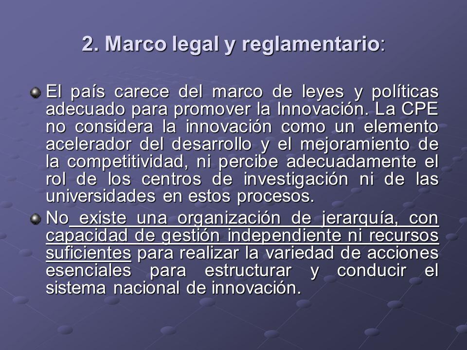 2. Marco legal y reglamentario: El país carece del marco de leyes y políticas adecuado para promover la Innovación. La CPE no considera la innovación