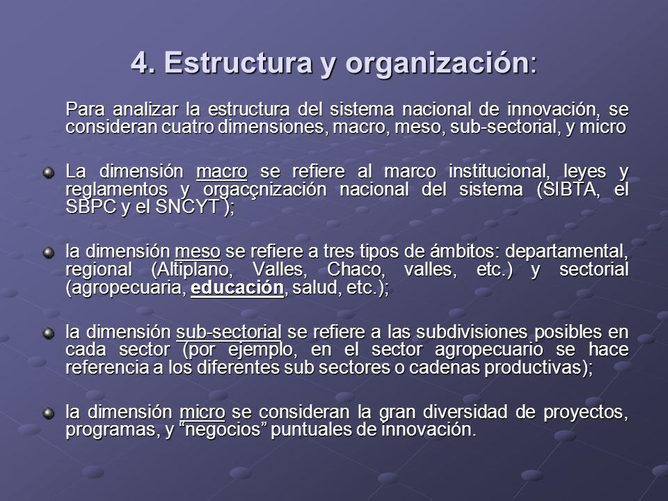 4. Estructura y organización: Para analizar la estructura del sistema nacional de innovación, se consideran cuatro dimensiones, macro, meso, sub-secto