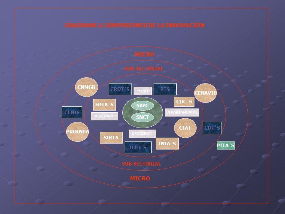 En la dimensión macro se observa lo siguiente: Falta de una visión compartida del sistema nacional de innovación.