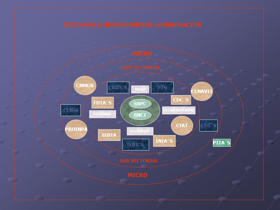 MICRO PITA´S PROINPA CENAVIT CNMGB CIAT SBPC SNCT FDTA´S SIBTA IEBT´S INIA´S CDC´S PTSCRDT´S CENIS CDT´S SUB SECTORIAL MESO SECTORIAL DEPARTAMENTAL RE