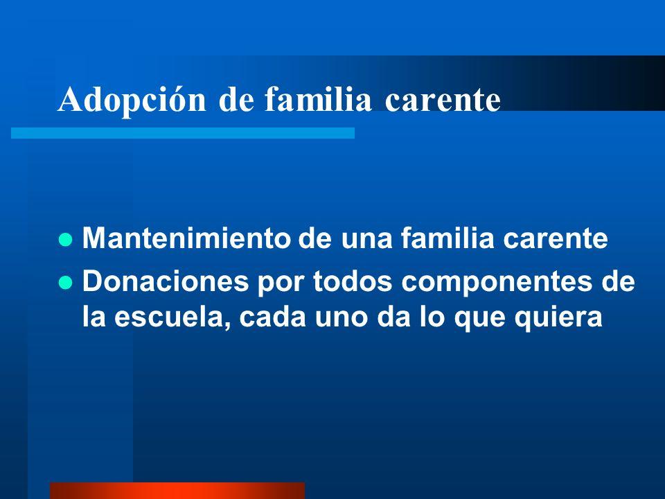 Adopción de familia carente Mantenimiento de una familia carente Donaciones por todos componentes de la escuela, cada uno da lo que quiera