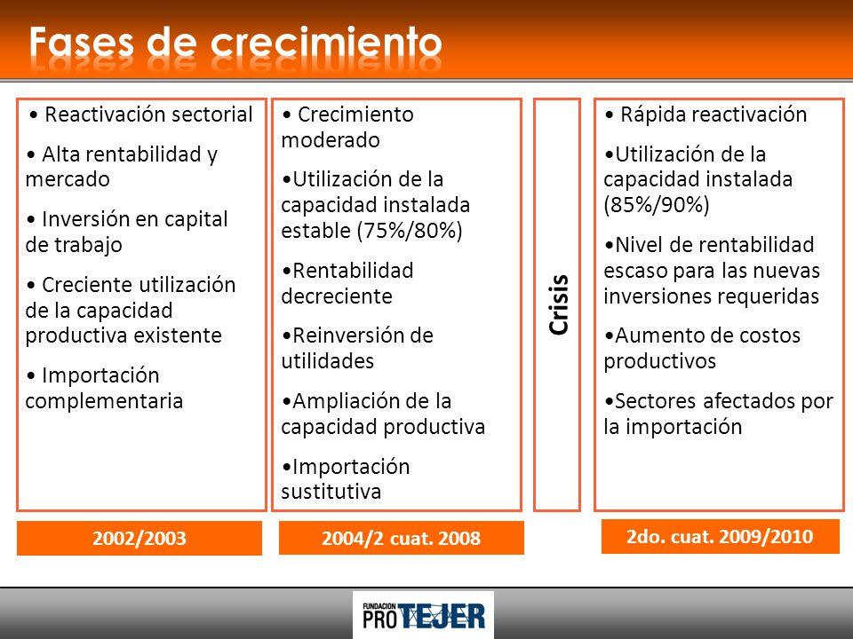 Reactivación sectorial Alta rentabilidad y mercado Inversión en capital de trabajo Creciente utilización de la capacidad productiva existente Importación complementaria Crisis 2002/2003 2do.