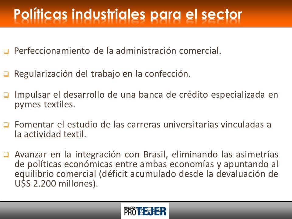 Perfeccionamiento de la administración comercial. Regularización del trabajo en la confección.