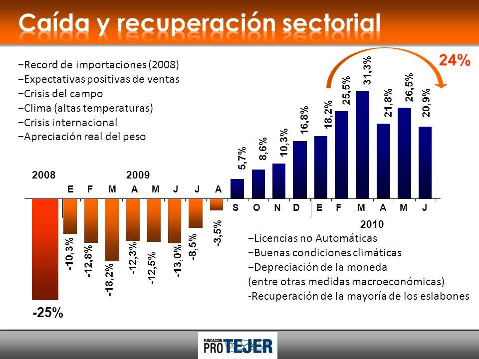 24% Licencias no Automáticas Buenas condiciones climáticas Depreciación de la moneda (entre otras medidas macroeconómicas) -Recuperación de la mayoría de los eslabones 5,7% 8,6% 10,3% 16,8% 25,5% 21,8% 26,5% 18,2% 20,9% 31,3% SONDEFMAMJ 2010