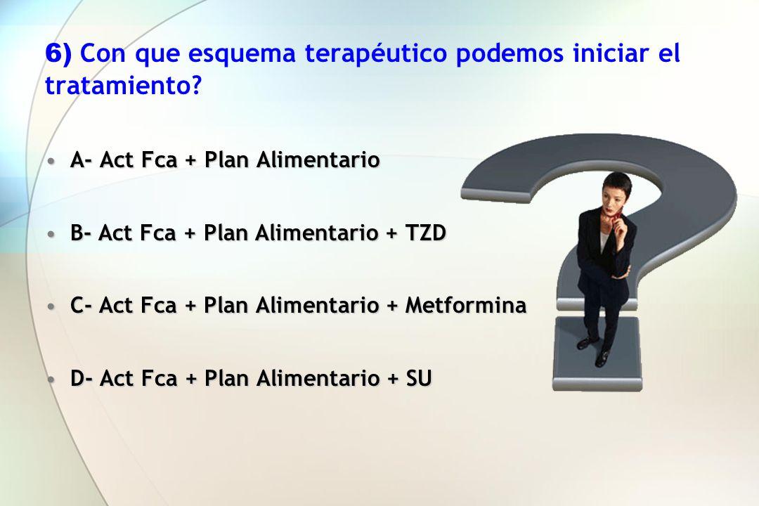 6) Con que esquema terapéutico podemos iniciar el tratamiento? A- Act Fca + Plan AlimentarioA- Act Fca + Plan Alimentario B- Act Fca + Plan Alimentari