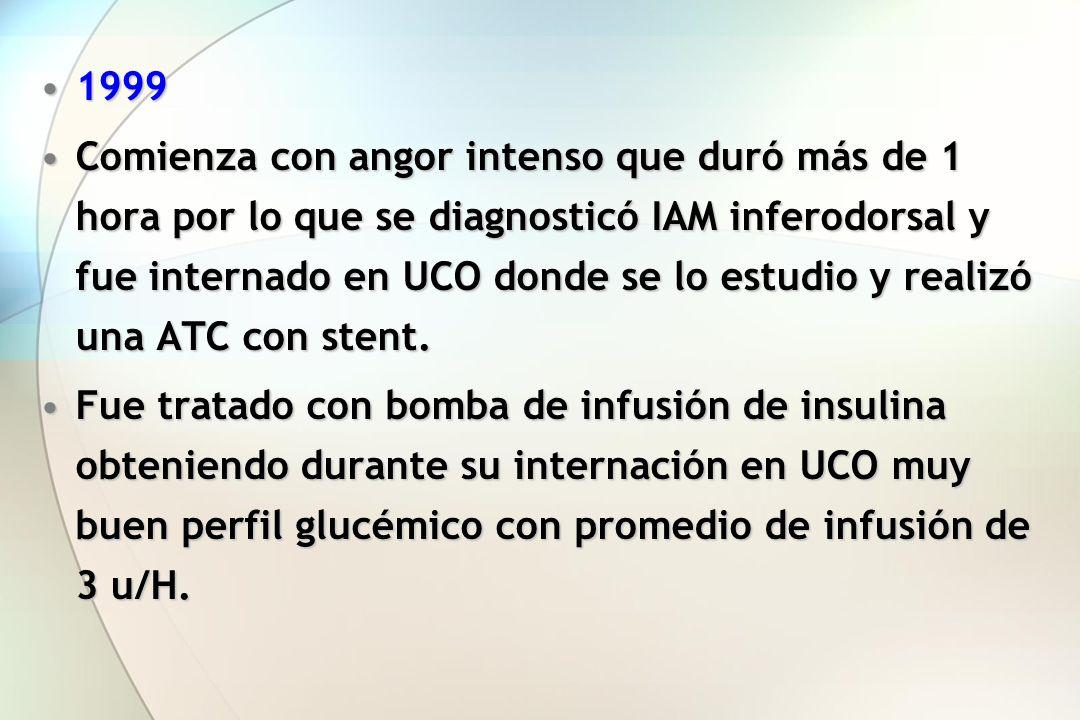 19991999 Comienza con angor intenso que duró más de 1 hora por lo que se diagnosticó IAM inferodorsal y fue internado en UCO donde se lo estudio y rea