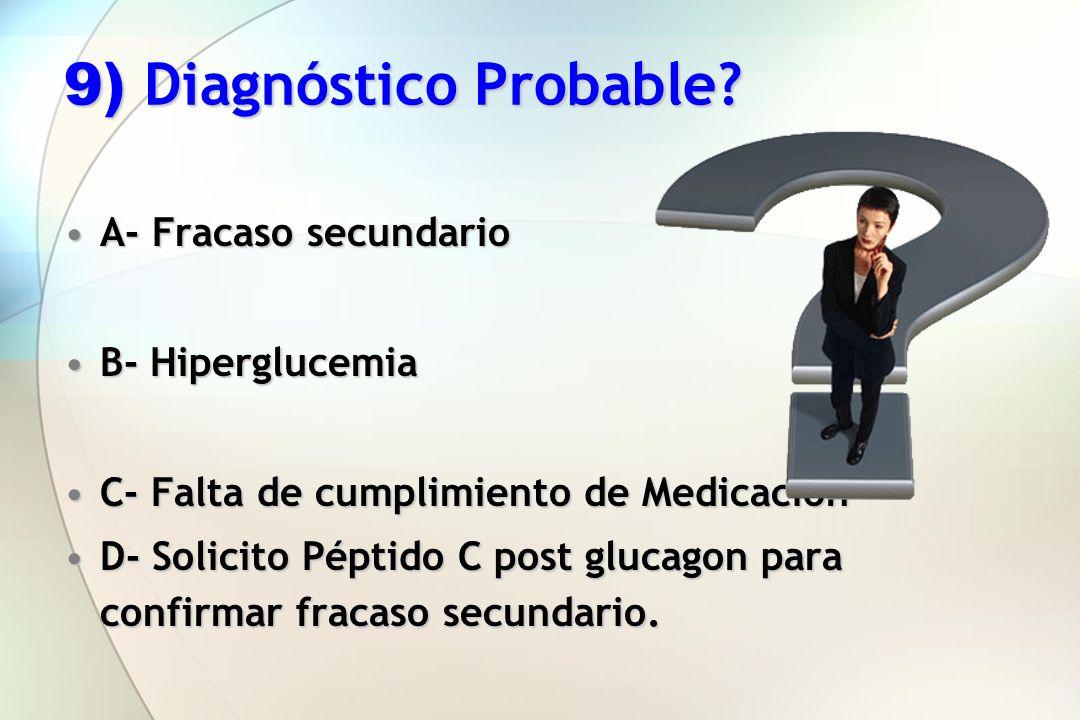 9) Diagnóstico Probable? A- Fracaso secundarioA- Fracaso secundario B- HiperglucemiaB- Hiperglucemia C- Falta de cumplimiento de MedicaciónC- Falta de