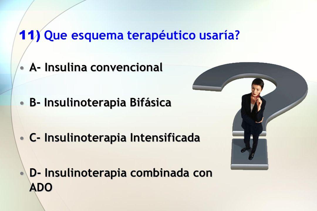 11) Que esquema terapéutico usaría? A- Insulina convencionalA- Insulina convencional B- Insulinoterapia BifásicaB- Insulinoterapia Bifásica C- Insulin