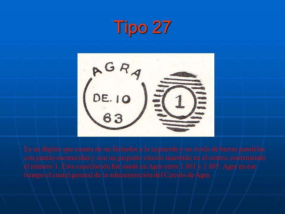 Tipo 27 Es un dúplex que consta de un fechador a la izquierda y un óvalo de barras paralelas con puntas oscurecidas y con un pequeño círculo insertado