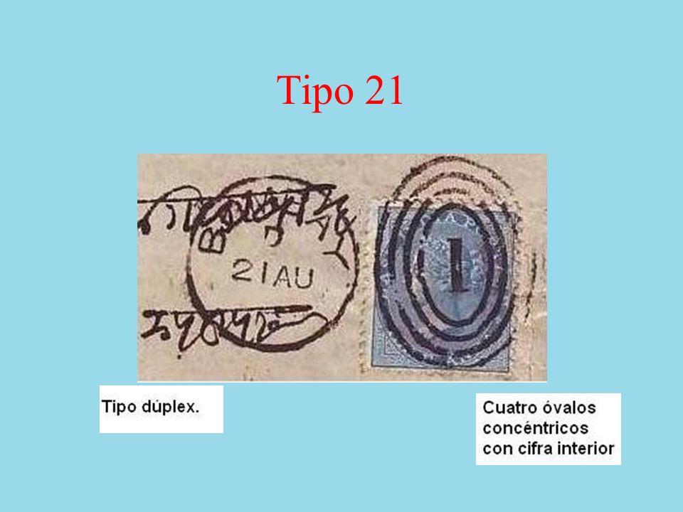 Tipo 22 Matasellos dúplex que lleva el número de la oficina postal dentro de un óvalo lineado horizontalmente.