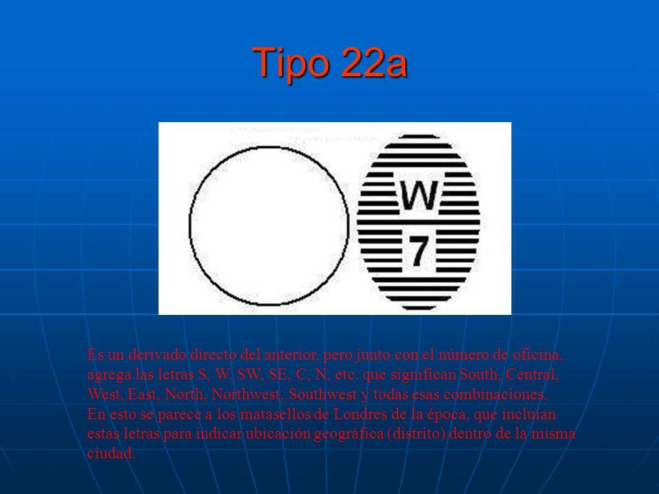 Tipo 22a Es un derivado directo del anterior, pero junto con el número de oficina, agrega las letras S, W, SW, SE, C, N, etc. que significan South, Ce