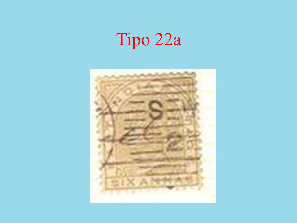 Tipo 22b las lineas se adelgazan y se suprimen los adornos en forma de X que iban en el fechador, al inicio y término del nombre de la ciudad.