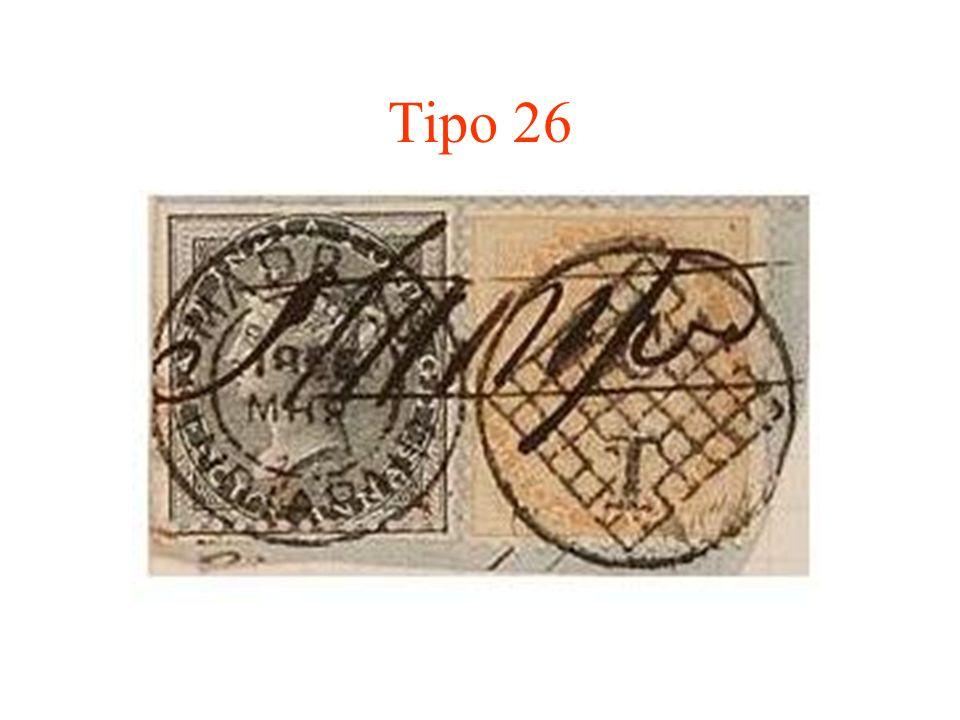Tipo 27 Es un dúplex que consta de un fechador a la izquierda y un óvalo de barras paralelas con puntas oscurecidas y con un pequeño círculo insertado en el centro, conteniendo el número 1.