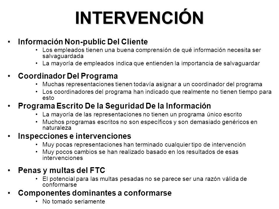 INTERVENCIÓN Información Non-public Del Cliente Los empleados tienen una buena comprensión de qué información necesita ser salvaguardada La mayoría de