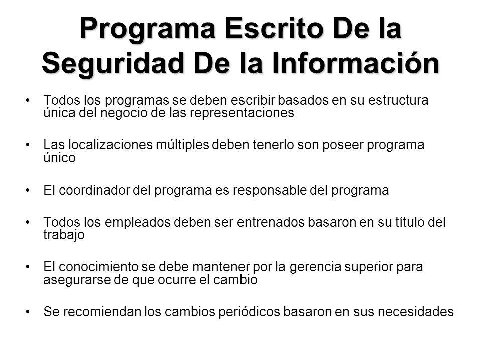 Programa Escrito De la Seguridad De la Información Todos los programas se deben escribir basados en su estructura única del negocio de las representac