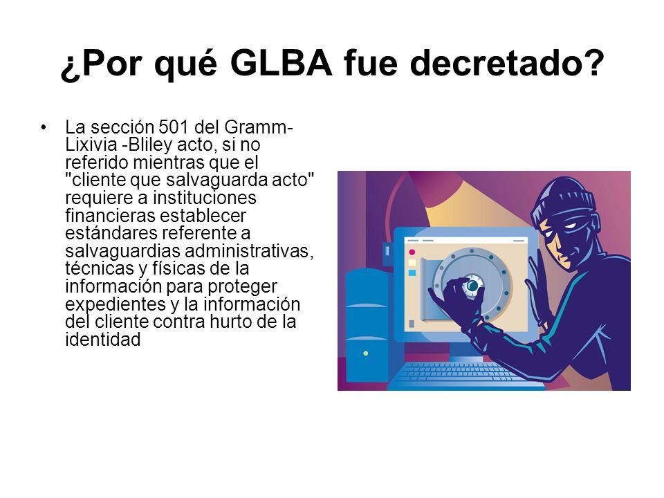 ¿Por qué GLBA fue decretado? La sección 501 del Gramm- Lixivia -Bliley acto, si no referido mientras que el