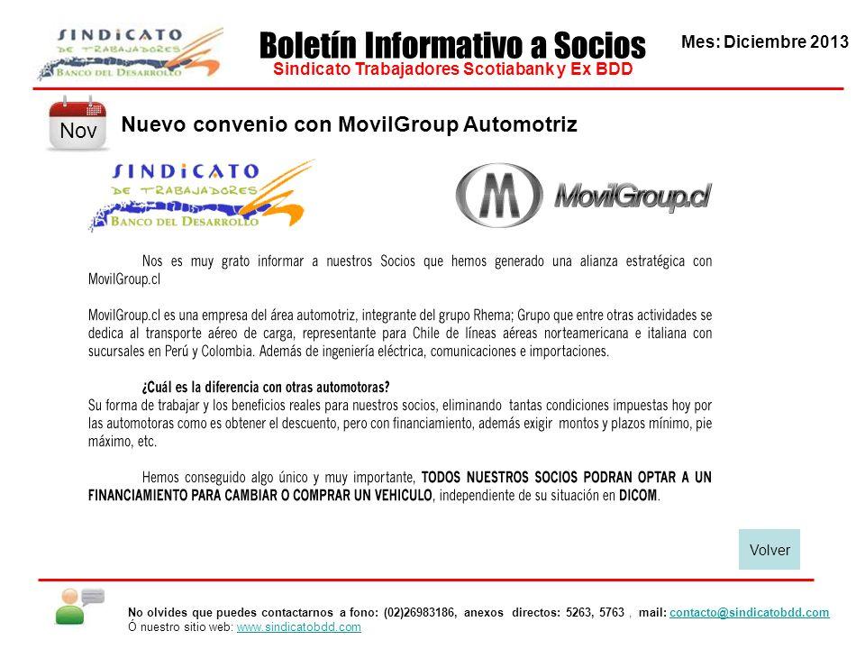 Mes: Diciembre 2013 Boletín Informativo a Socios Sindicato Trabajadores Scotiabank y Ex BDD No olvides que puedes contactarnos a fono: (02)26983186, anexos directos: 5263, 5763, mail: contacto@sindicatobdd.comcontacto@sindicatobdd.com Ó nuestro sitio web: www.sindicatobdd.comwww.sindicatobdd.com Visita a Sucursales de Valdivia En la Región de Los Ríos, el encuentro de camaradería con los Socios y Funcionarios fue muy agradable.