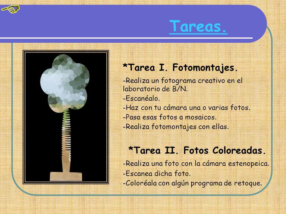 Tareas.*Tarea I. Fotomontajes. -Realiza un fotograma creativo en el laboratorio de B/N.