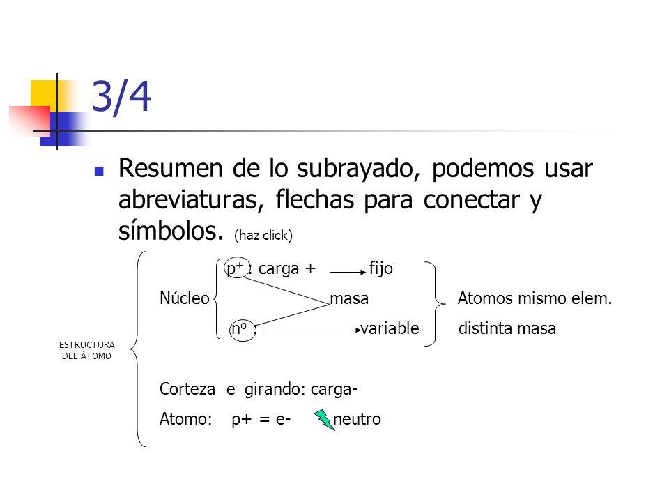 3/4 Resumen de lo subrayado, podemos usar abreviaturas, flechas para conectar y símbolos. (haz click) ESTRUCTURA DEL ÁTOMO p + : carga + fijo Núcleo m