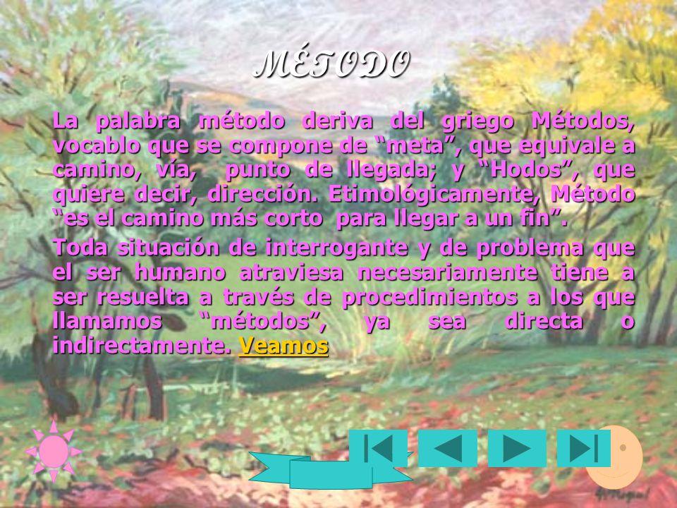 MÉTODO La palabra método deriva del griego Métodos, vocablo que se compone de meta, que equivale a camino, vía, punto de llegada; y Hodos, que quiere decir, dirección.