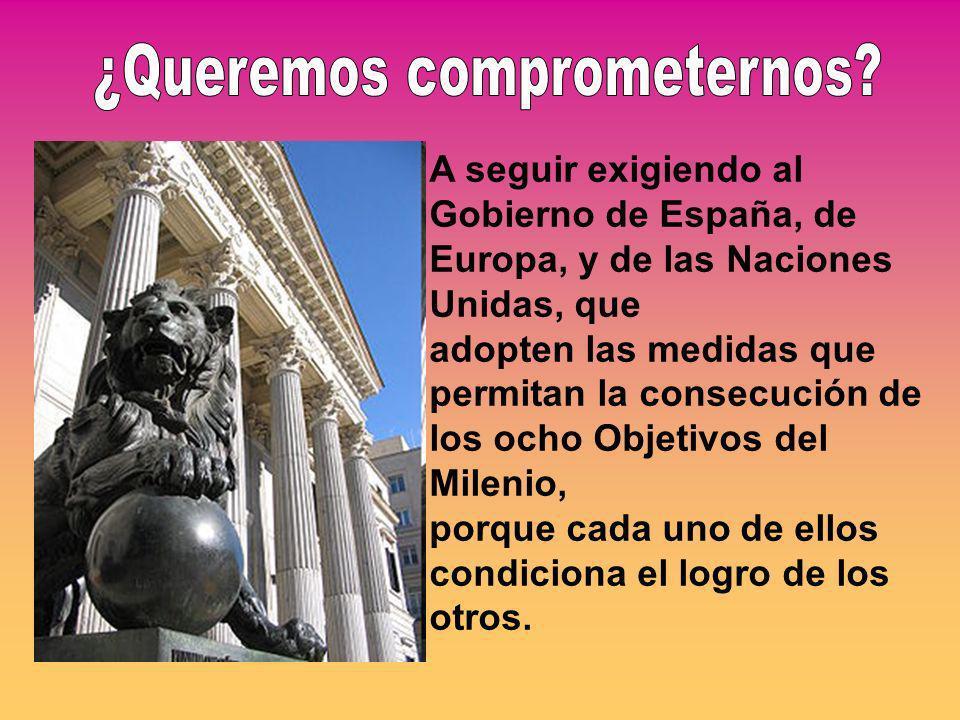 A seguir exigiendo al Gobierno de España, de Europa, y de las Naciones Unidas, que adopten las medidas que permitan la consecución de los ocho Objetivos del Milenio, porque cada uno de ellos condiciona el logro de los otros.