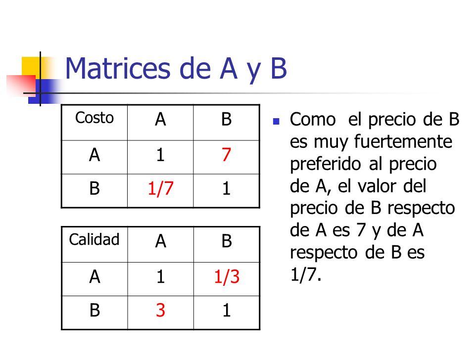 Matrices de A y B Costo AB A17 B1/71 Como el precio de B es muy fuertemente preferido al precio de A, el valor del precio de B respecto de A es 7 y de