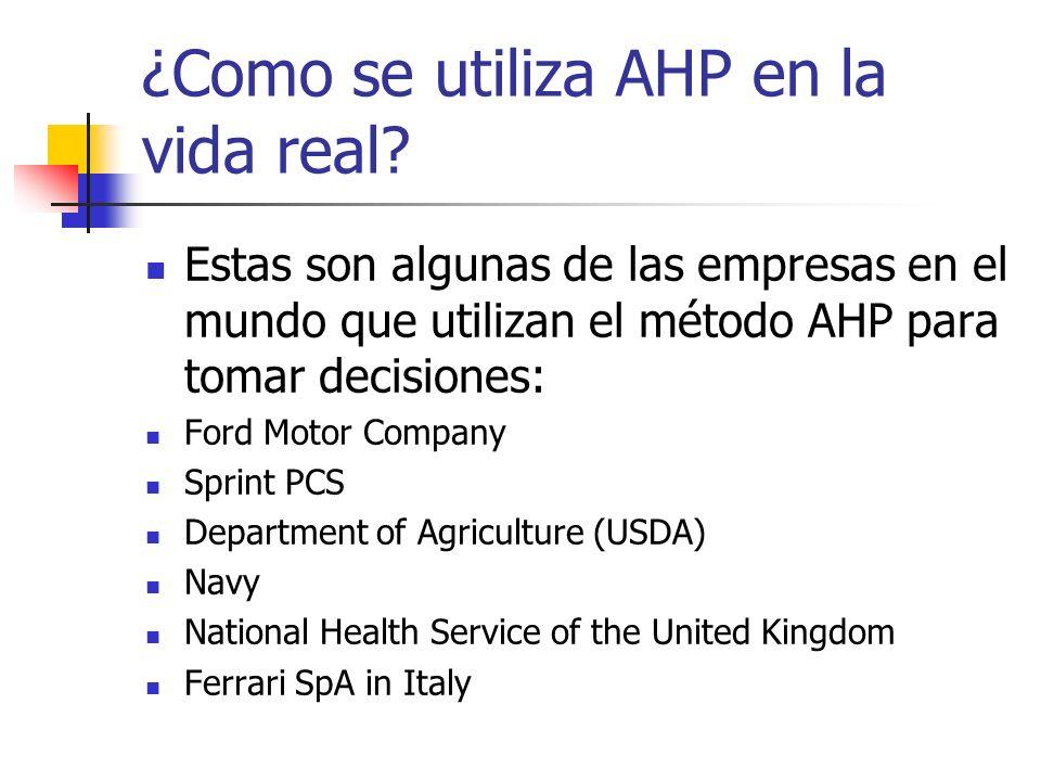 ¿Como se utiliza AHP en la vida real? Estas son algunas de las empresas en el mundo que utilizan el método AHP para tomar decisiones: Ford Motor Compa