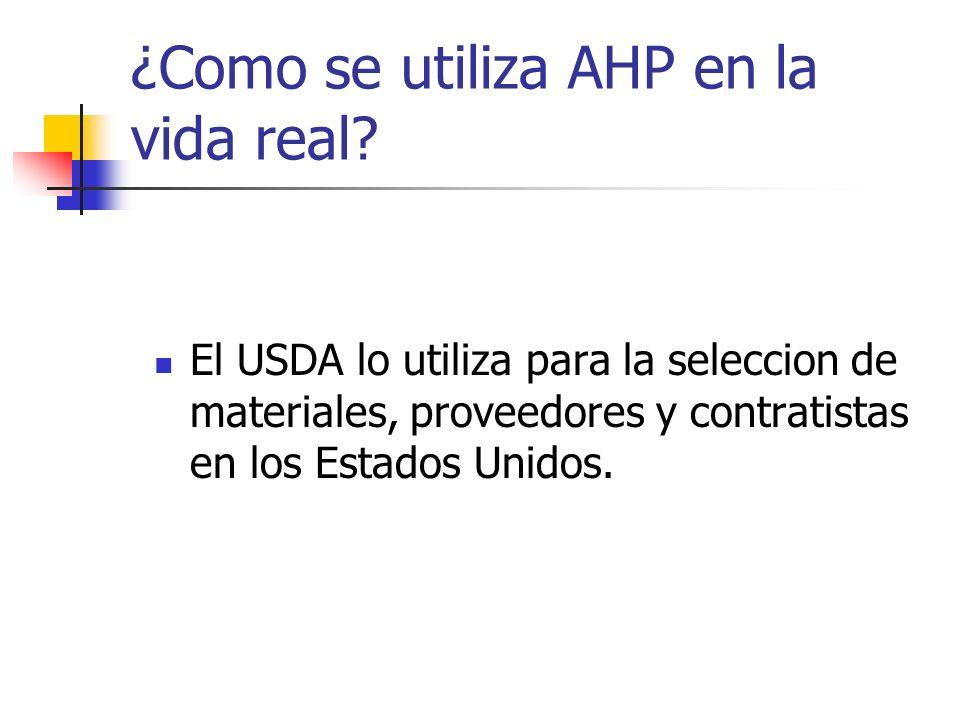 ¿Como se utiliza AHP en la vida real? El USDA lo utiliza para la seleccion de materiales, proveedores y contratistas en los Estados Unidos.