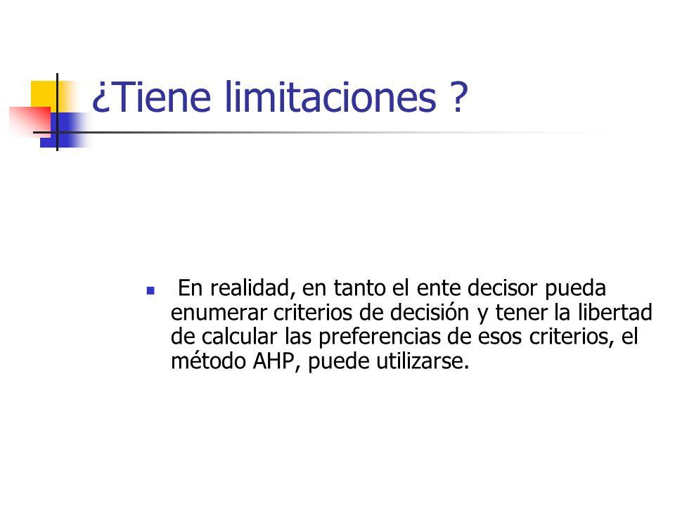 ¿Tiene limitaciones ? En realidad, en tanto el ente decisor pueda enumerar criterios de decisión y tener la libertad de calcular las preferencias de e