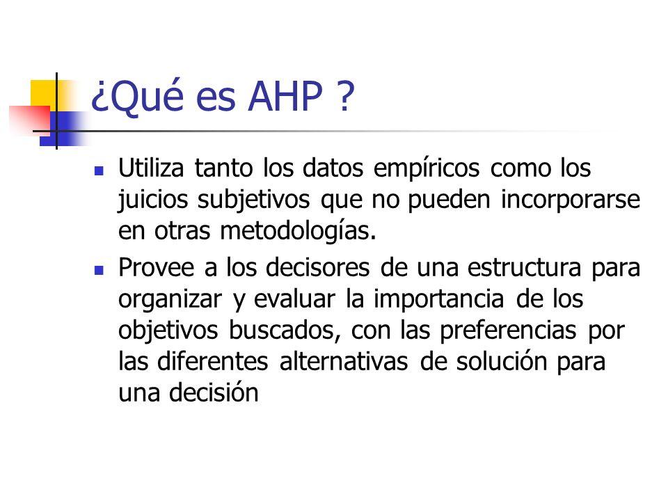 ¿Qué es AHP ? Utiliza tanto los datos empíricos como los juicios subjetivos que no pueden incorporarse en otras metodologías. Provee a los decisores d