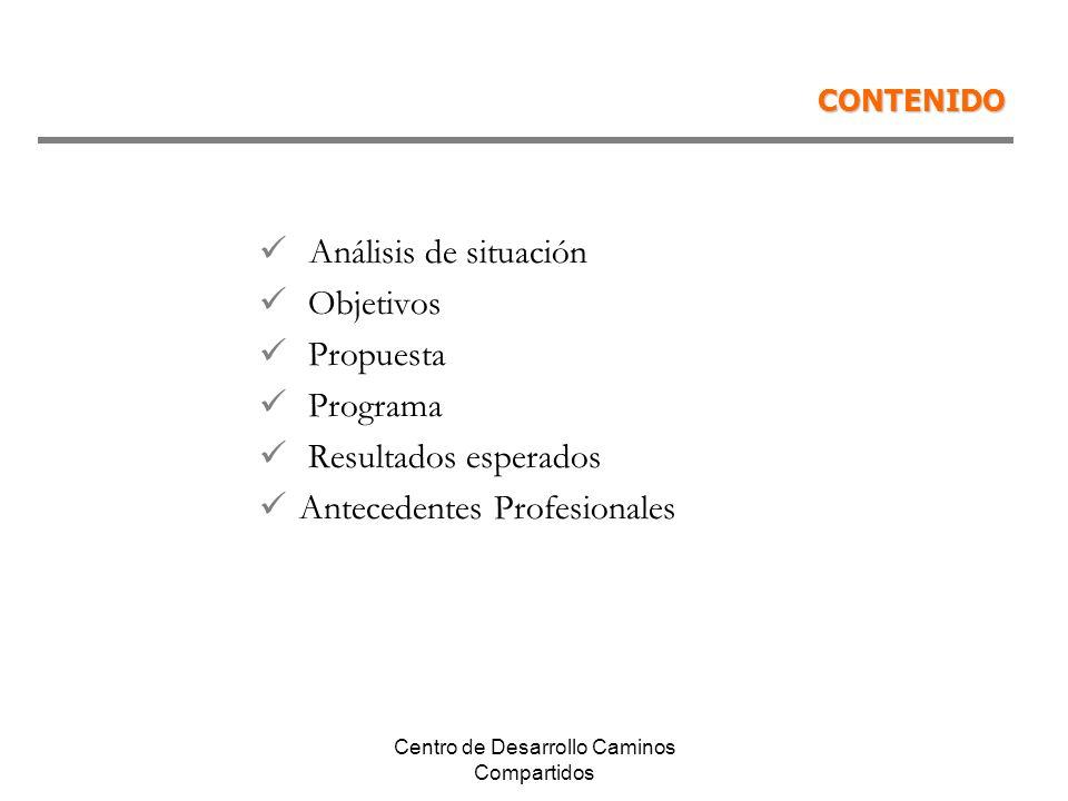Centro de Desarrollo Caminos Compartidos CONTENIDO Análisis de situación Objetivos Propuesta Programa Resultados esperados Antecedentes Profesionales