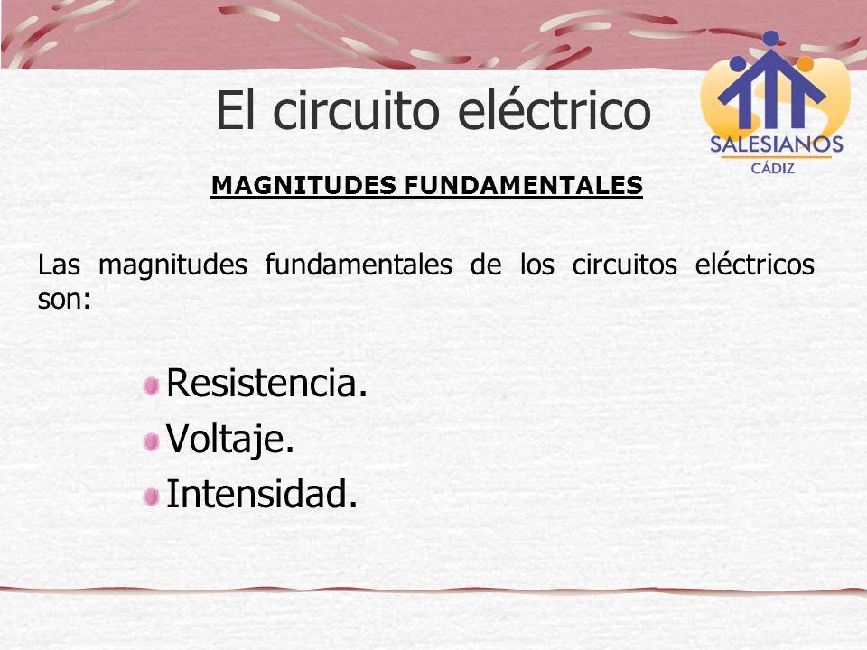El circuito eléctrico Resistencia. Voltaje. Intensidad. MAGNITUDES FUNDAMENTALES Las magnitudes fundamentales de los circuitos eléctricos son: