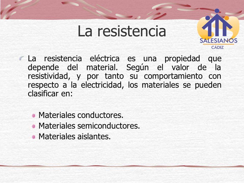 La resistencia eléctrica es una propiedad que depende del material. Según el valor de la resistividad, y por tanto su comportamiento con respecto a la