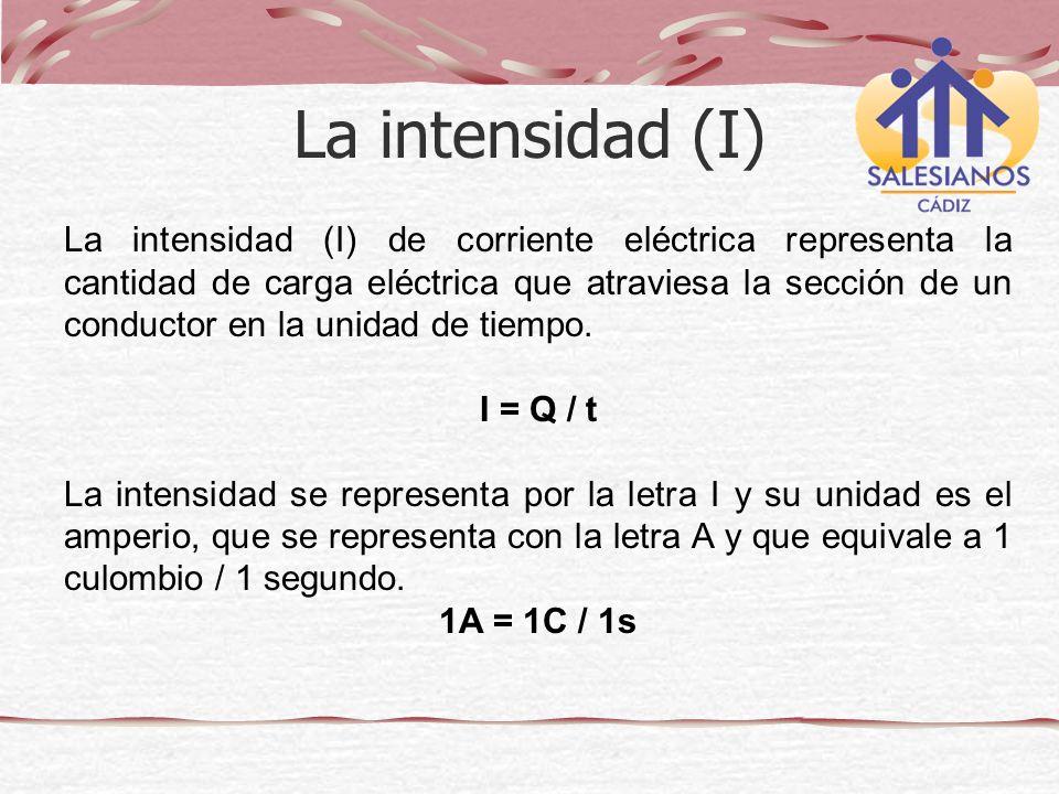 La intensidad (I) de corriente eléctrica representa la cantidad de carga eléctrica que atraviesa la sección de un conductor en la unidad de tiempo. I