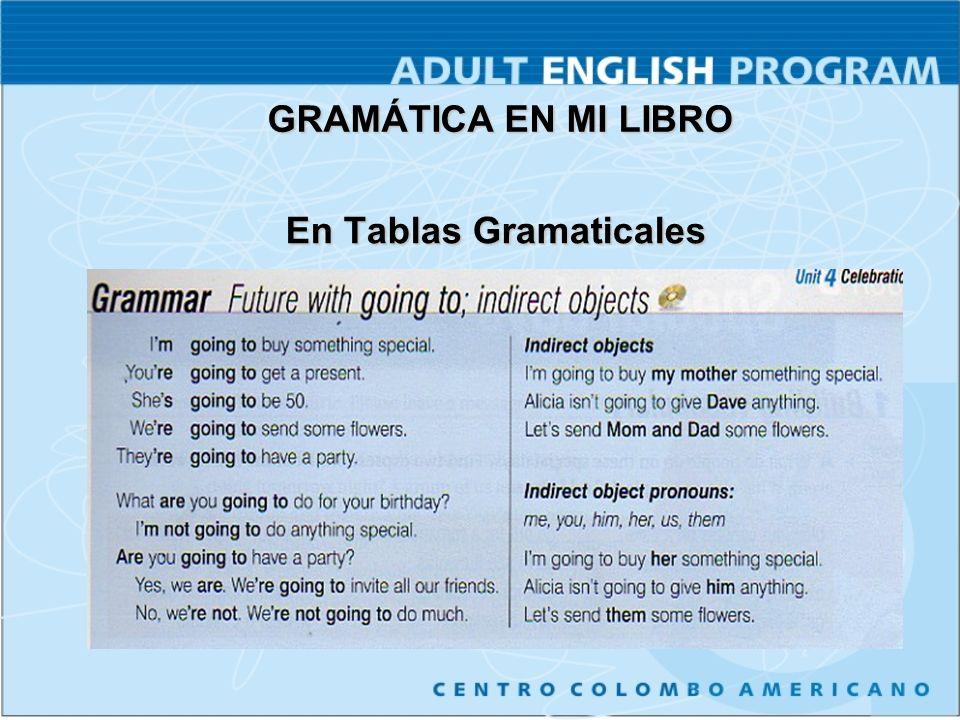 En Tablas Gramaticales En Tablas Gramaticales GRAMÁTICA EN MI LIBRO