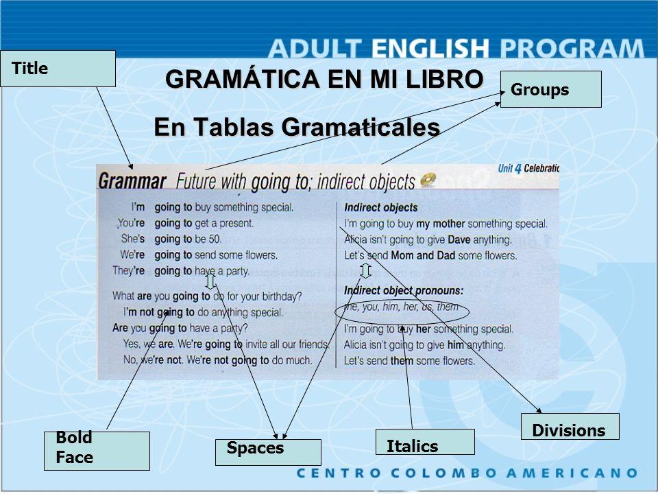 En Tablas Gramaticales En Tablas Gramaticales Bold Face Spaces ItalicsDivisions TitleGroups GRAMÁTICA EN MI LIBRO
