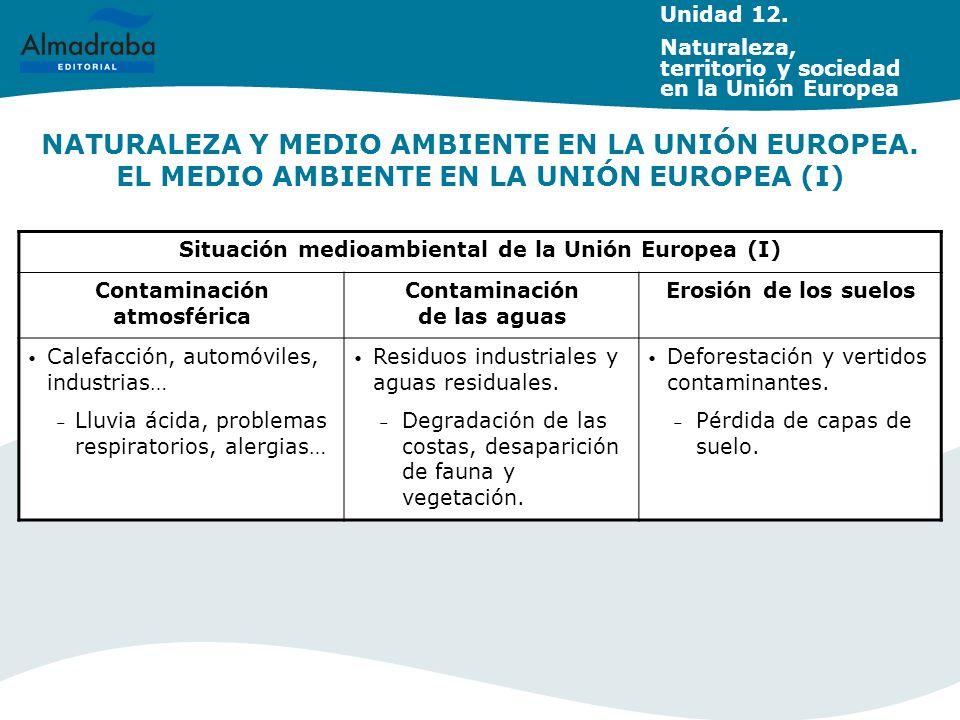 NATURALEZA Y MEDIO AMBIENTE EN LA UNIÓN EUROPEA. EL MEDIO AMBIENTE EN LA UNIÓN EUROPEA (I) Unidad 12. Naturaleza, territorio y sociedad en la Unión Eu