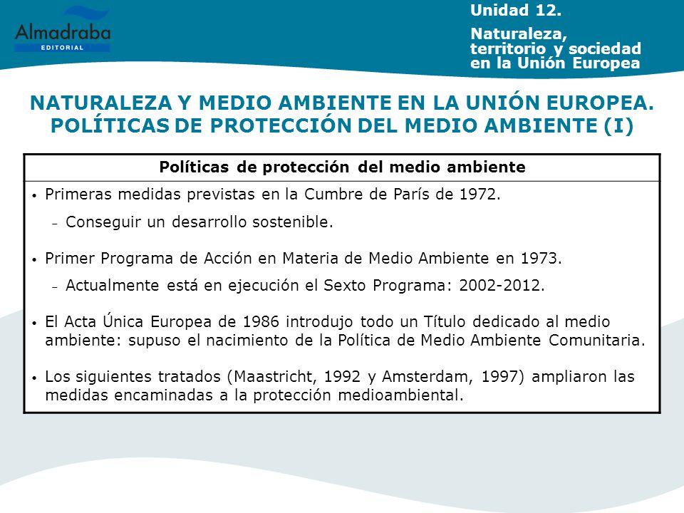 NATURALEZA Y MEDIO AMBIENTE EN LA UNIÓN EUROPEA. POLÍTICAS DE PROTECCIÓN DEL MEDIO AMBIENTE (I) Políticas de protección del medio ambiente Primeras me