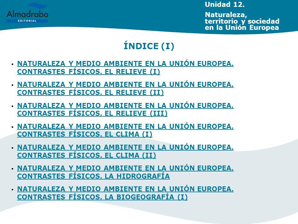 Unidad 12. Naturaleza, territorio y sociedad en la Unión Europea NATURALEZA Y MEDIO AMBIENTE EN LA UNIÓN EUROPEA. CONTRASTES FÍSICOS. EL RELIEVE (I) N