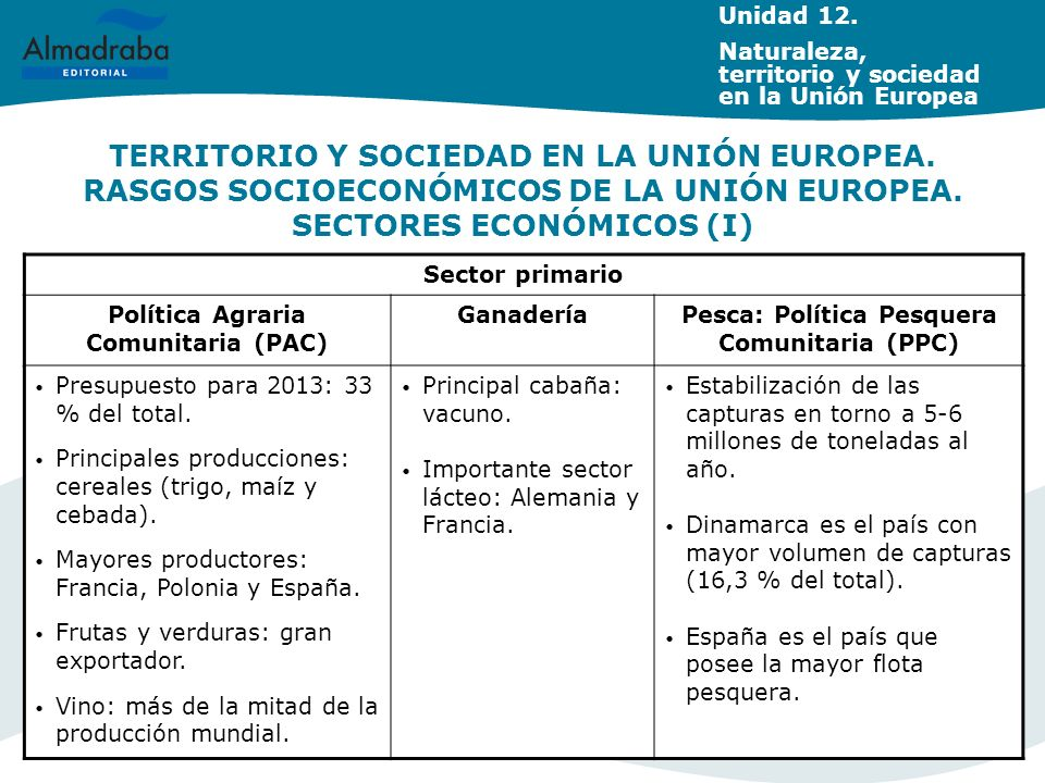 TERRITORIO Y SOCIEDAD EN LA UNIÓN EUROPEA. RASGOS SOCIOECONÓMICOS DE LA UNIÓN EUROPEA. SECTORES ECONÓMICOS (I) Unidad 12. Naturaleza, territorio y soc