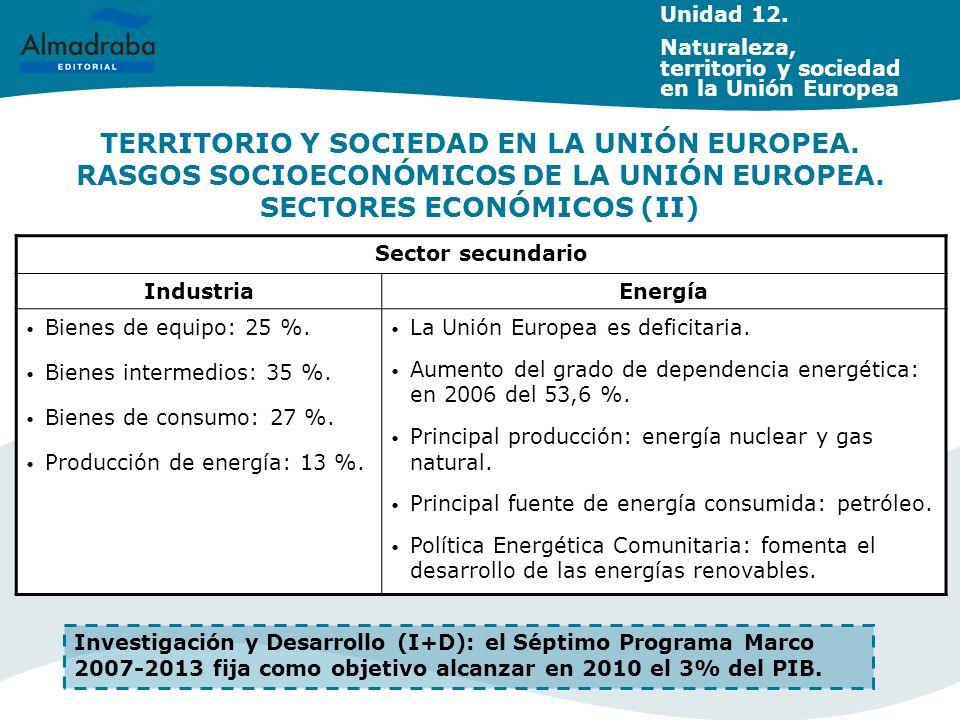 TERRITORIO Y SOCIEDAD EN LA UNIÓN EUROPEA. RASGOS SOCIOECONÓMICOS DE LA UNIÓN EUROPEA. SECTORES ECONÓMICOS (II) Sector secundario IndustriaEnergía Bie