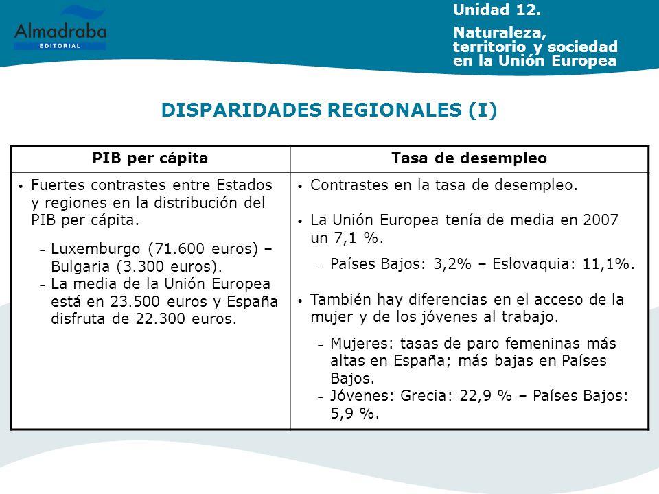 DISPARIDADES REGIONALES (I) PIB per cápitaTasa de desempleo Fuertes contrastes entre Estados y regiones en la distribución del PIB per cápita. – Luxem