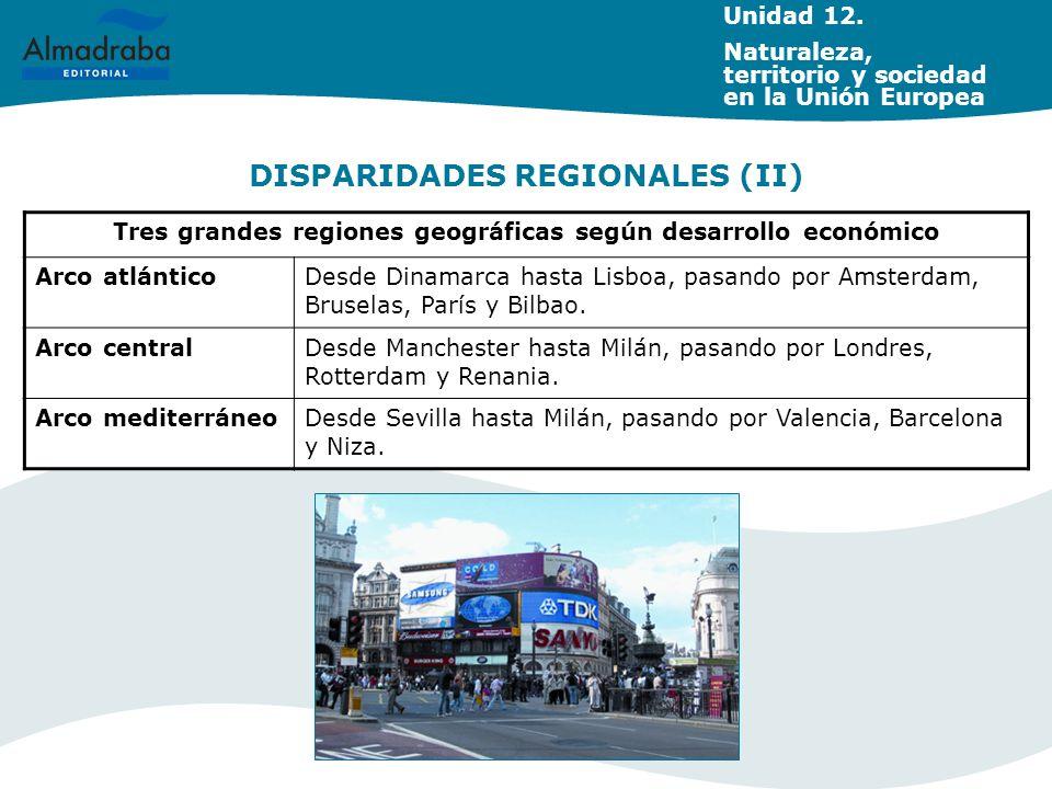 DISPARIDADES REGIONALES (II) Tres grandes regiones geográficas según desarrollo económico Arco atlánticoDesde Dinamarca hasta Lisboa, pasando por Amst